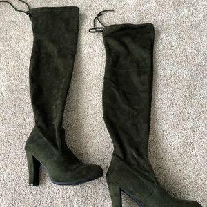 Dark green suede thigh high boots